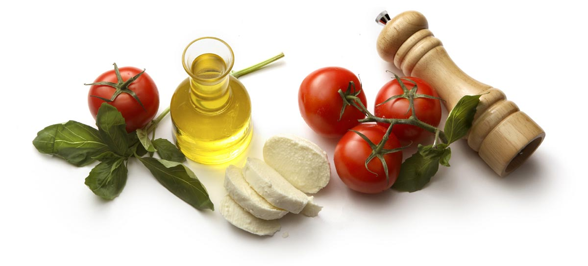 Italian Food Ingredients - Oil, Tomatoes, Herbs and Cheese